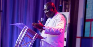 Deputy-Minister-of-Communications-Vincent-Sowah-Odotei-delivery-his-speech-at-the-AirtelTigo-first-anniversary-stakeholders-dinner