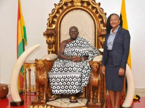 CEO of AirtelTigo; Ms. Mitwa Ng'ambi-on-the-right-side-of-Asantehene-Otumfuo-Osei-Tutu-II